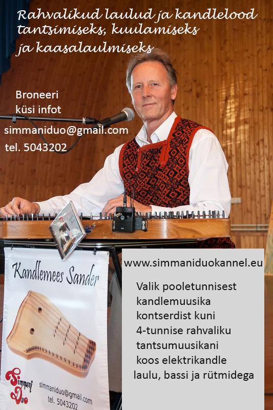 Kandlemees Sander Kandlemuusika ja rahvalikud laulud kuulamiseks tantsimiseks kaasalaulmiseks